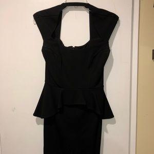 Bebe Mariah Black Peplum Dress